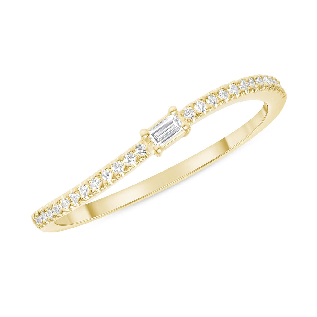 Curved Diamond Band with Single Baguette - Happy Jewelers Fine Jewelry Lifetime Warranty