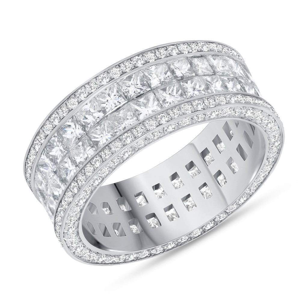 2-Row Princess Cut + Channel Set Men's Band - Happy Jewelers