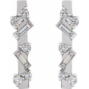 Scattered Diamond Bar Earrings - Happy Jewelers Fine Jewelry Lifetime Warranty