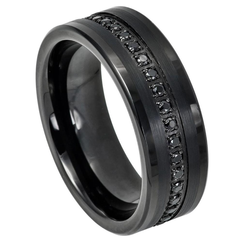 Black Gemstone Tungsten Band - Happy Jewelers Fine Jewelry Lifetime Warranty