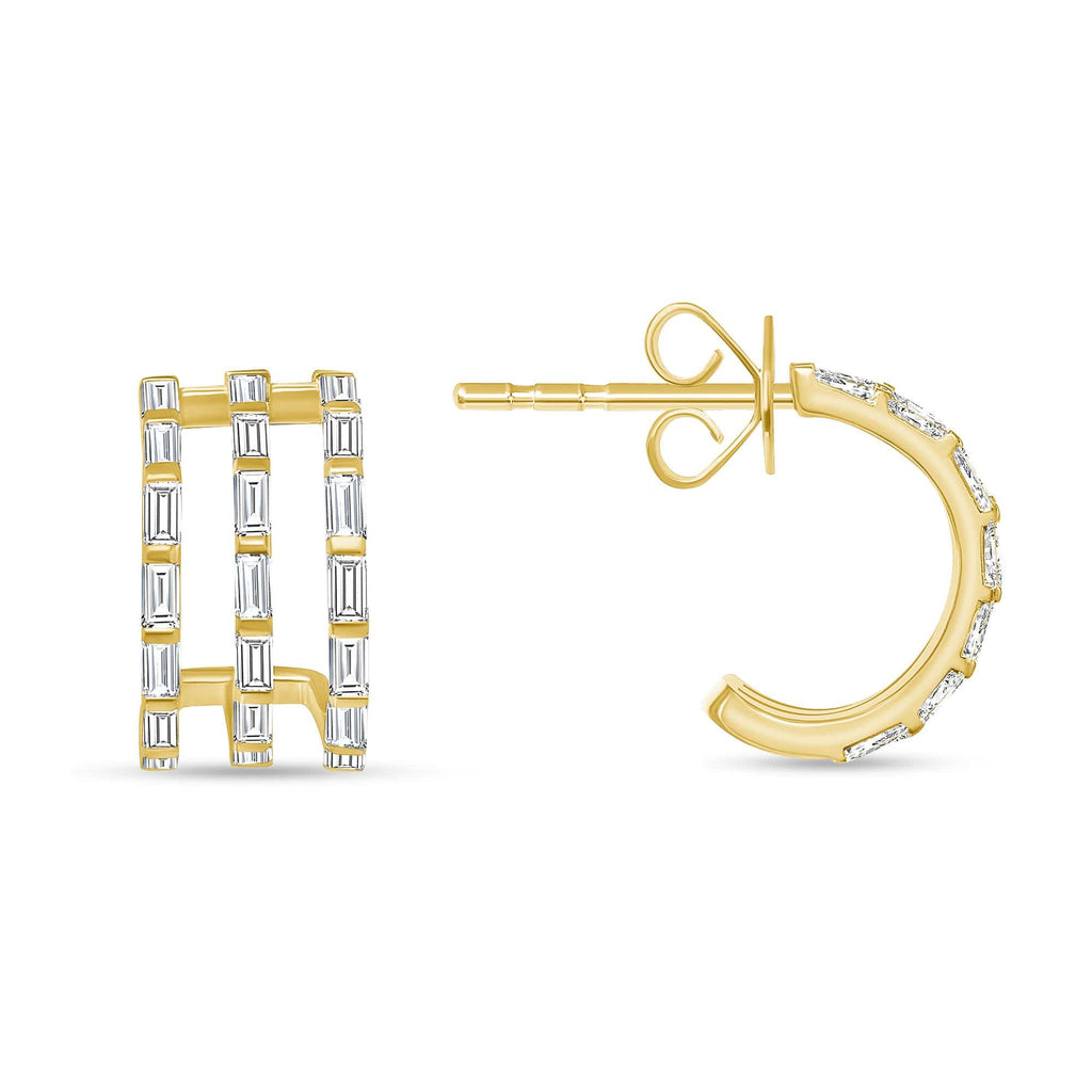 Triple Baguette Earrings - Happy Jewelers Fine Jewelry Lifetime Warranty