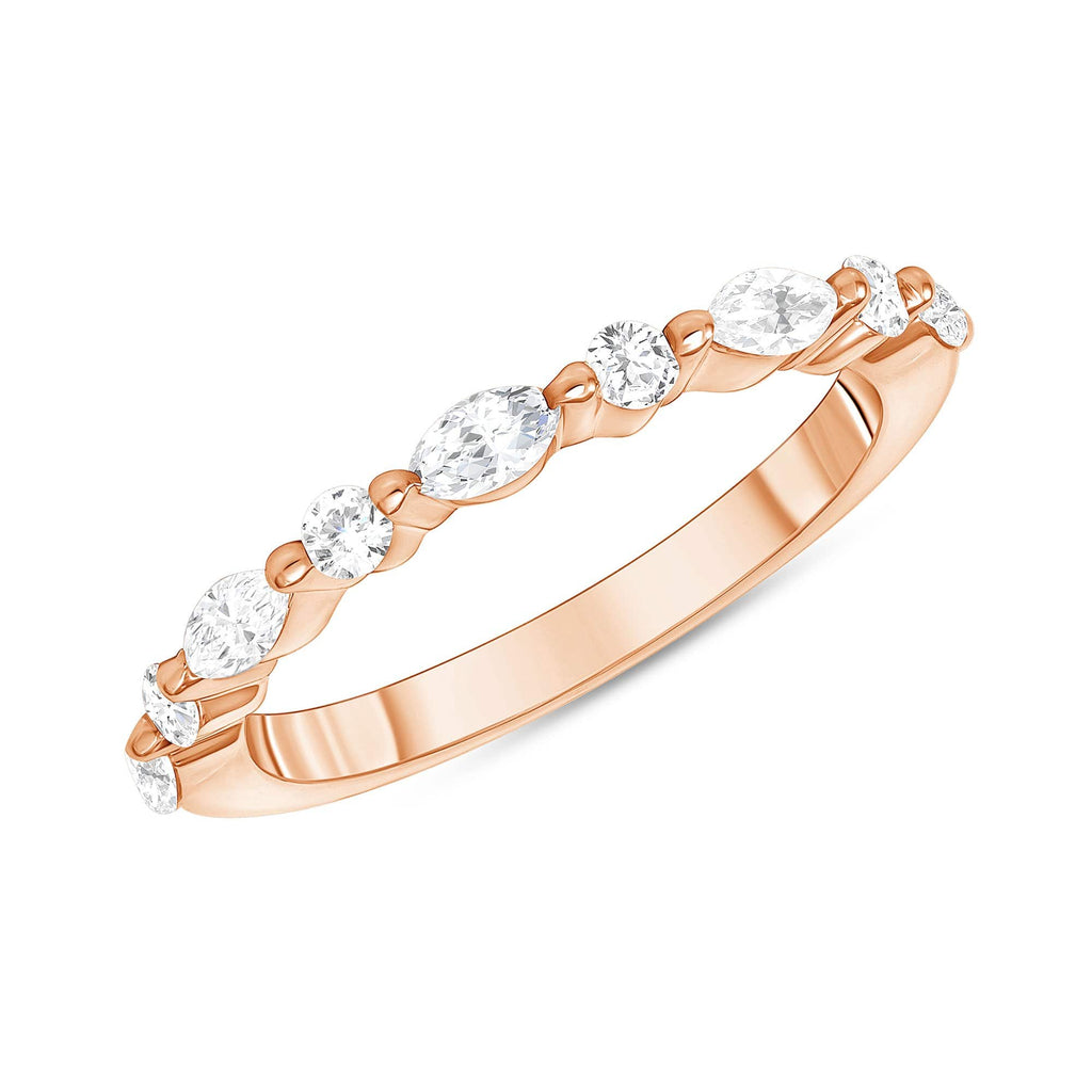 Round + Marquise Shared Prong 1/2 Way Band - Happy Jewelers