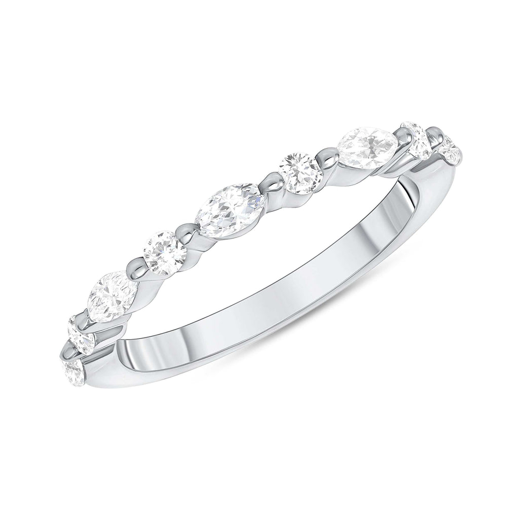 Round + Marquise Shared Prong 1/2 Way Band - Happy Jewelers Fine Jewelry Lifetime Warranty