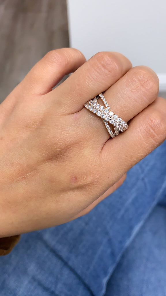 Diamond Criss Cross X Ring - Happy Jewelers Fine Jewelry Lifetime Warranty