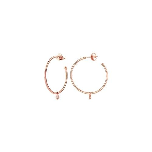 Dangle Diamond Bezel Hoops - Happy Jewelers Fine Jewelry Lifetime Warranty