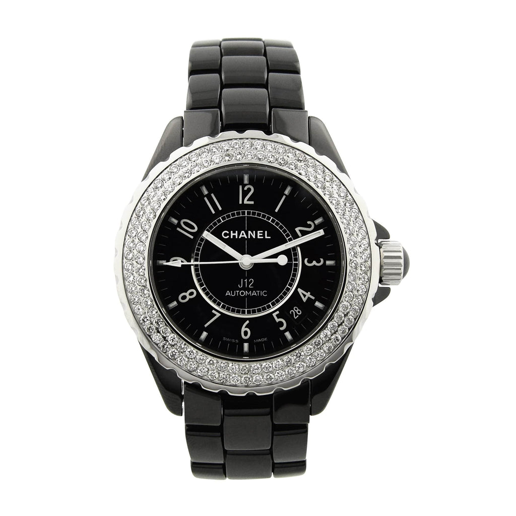 Chanel Lady J12 Ceramic & Steel 33mm Black Arabic Dial Custom Diamonds Watch - Happy Jewelers Fine Jewelry Lifetime Warranty