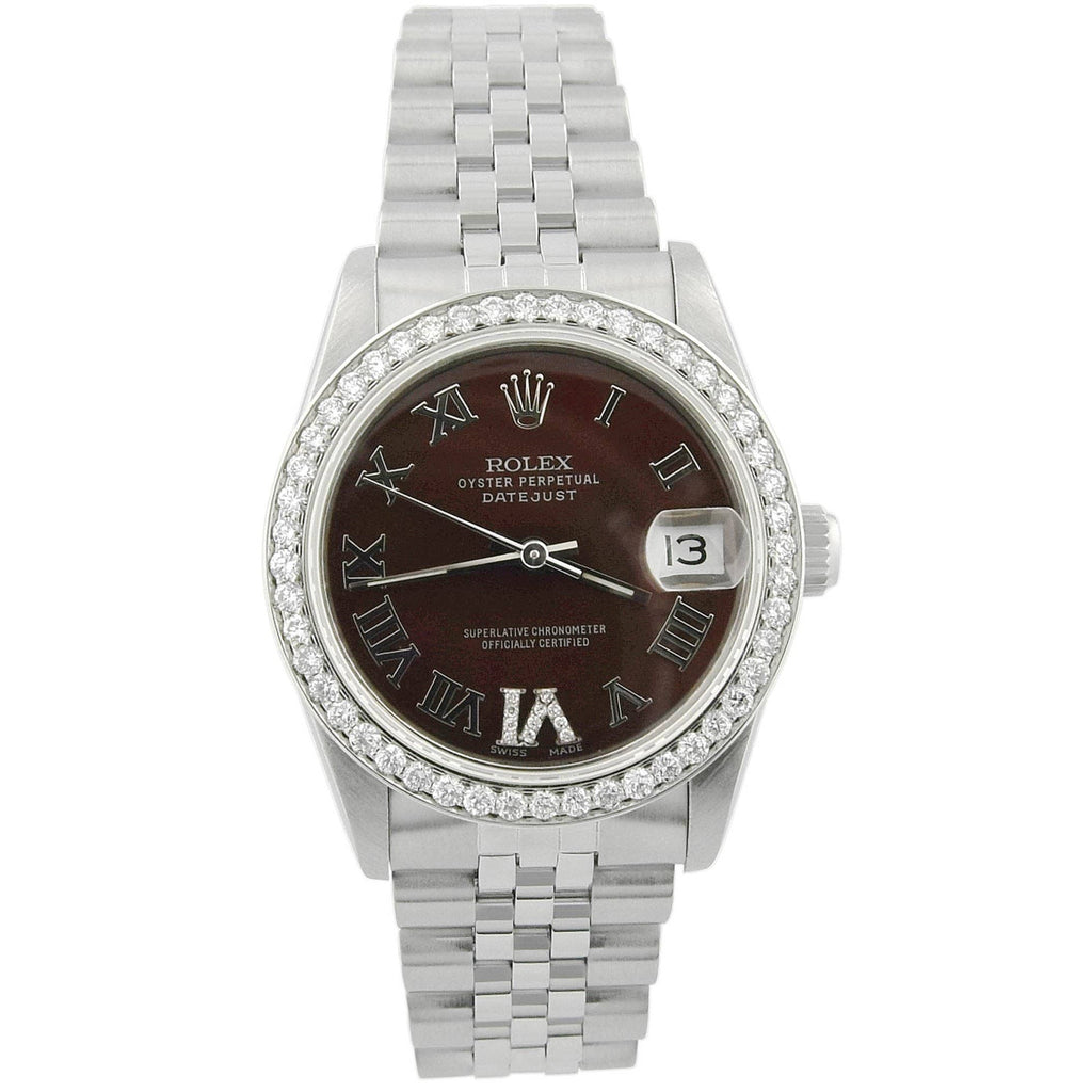 Rolex Datejust Lady 31mm Chocolate Diamond Roman Dial Custom Diamonds Stainless Steel Watch - Happy Jewelers Fine Jewelry Lifetime Warranty