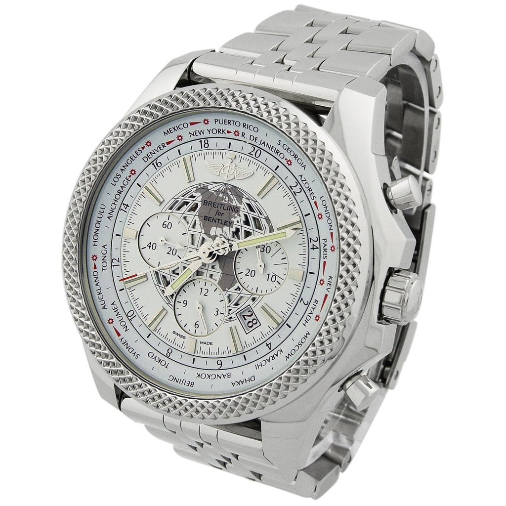 Breitling Mens Bentley B05 Unitime Stainless Steel 49mm White Stick Dial Watch - Happy Jewelers Fine Jewelry Lifetime Warranty