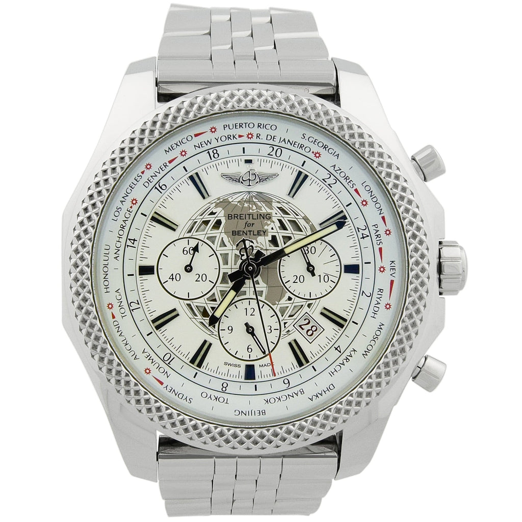 Breitling Mens Bentley B05 Unitime Stainless Steel 49mm White Stick Dial Watch - Happy Jewelers