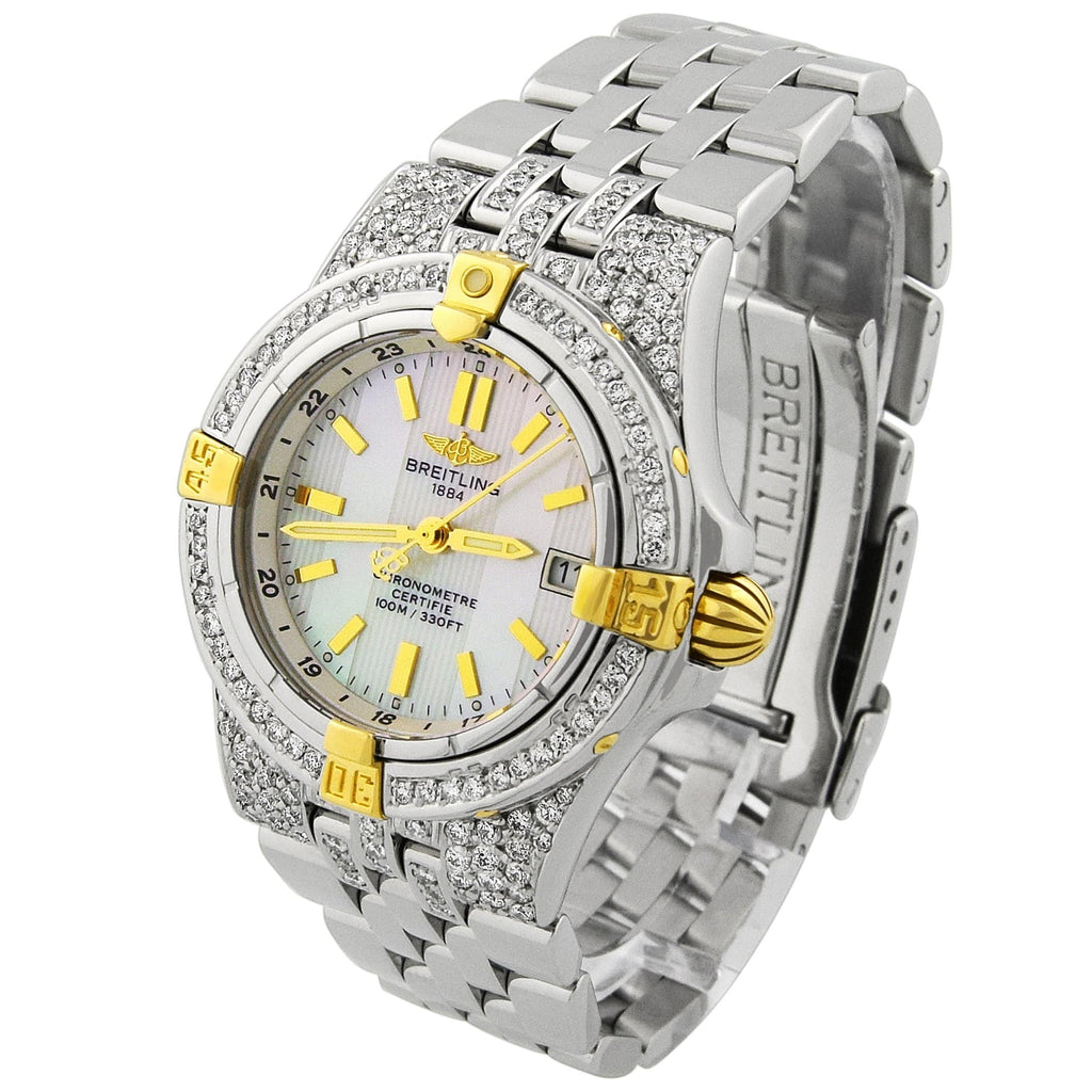 Breitling Lady Starliner 18KT Yellow Gold & Steel 30mm MOP Stick Dial Custom Diamonds Watch - Happy Jewelers