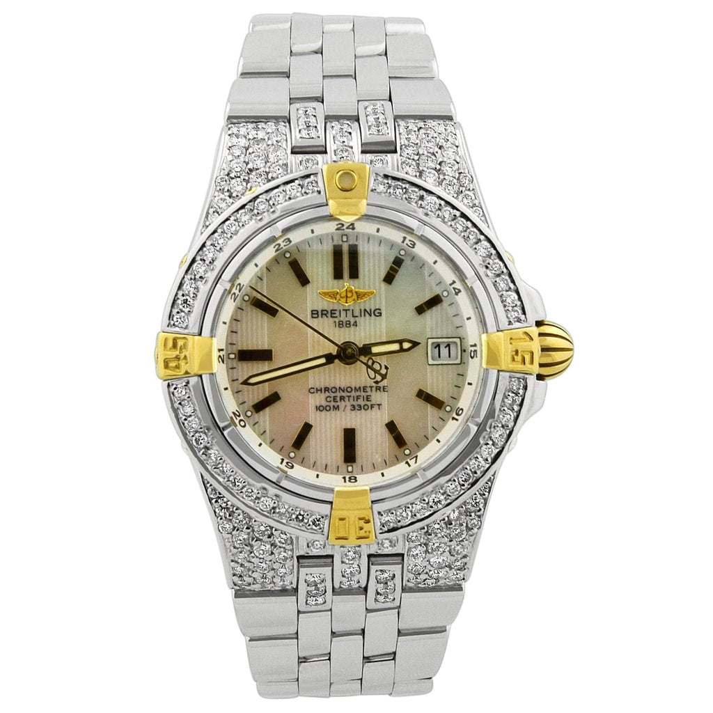 Breitling Lady Starliner 18KT Yellow Gold & Steel 30mm MOP Stick Dial Custom Diamonds Watch - Happy Jewelers Fine Jewelry Lifetime Warranty