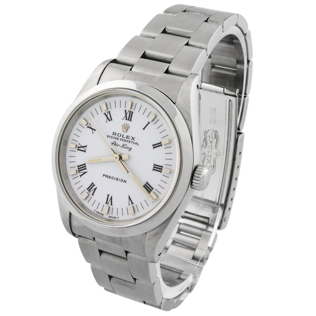 Rolex Mens Air-King Stainless Steel 34mm White Roman Dial Watch - Happy Jewelers Fine Jewelry Lifetime Warranty
