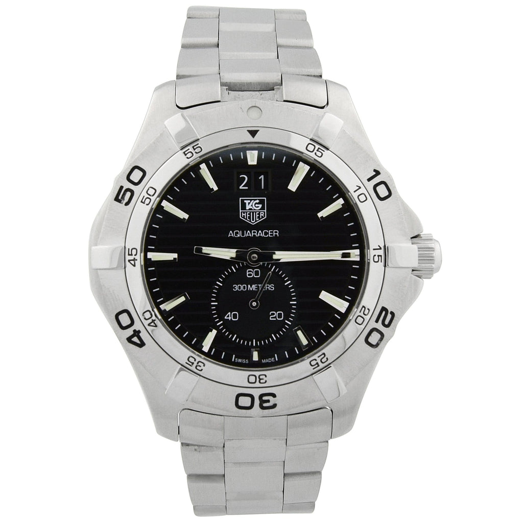 Tag Heuer Mens Aquaracer Stainless Steel 41mm Black Luminous Dial Watch - Happy Jewelers Fine Jewelry Lifetime Warranty