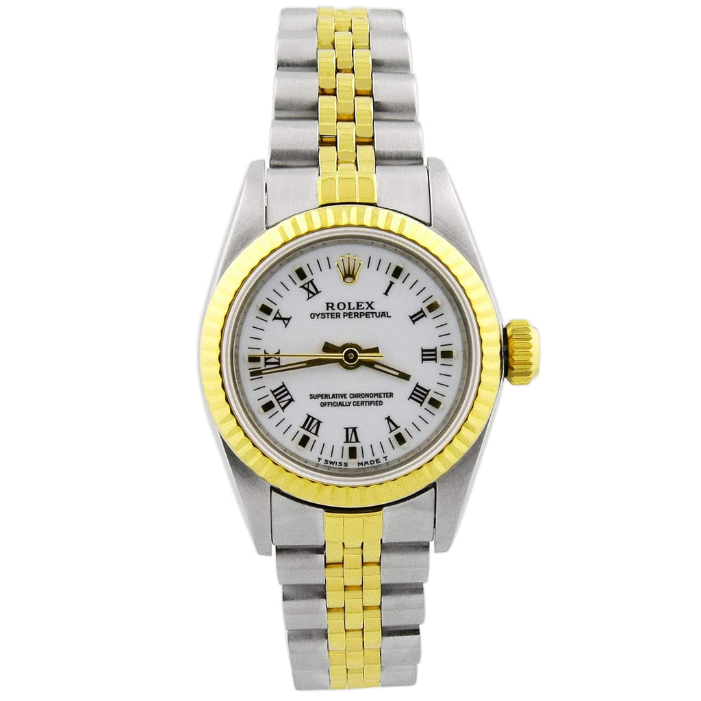 Rolex Lady Oyster Perpetual 18KT Yellow Gold & Steel 24mm White Roman Dial Watch Reference #: 67193 - Happy Jewelers Fine Jewelry Lifetime Warranty