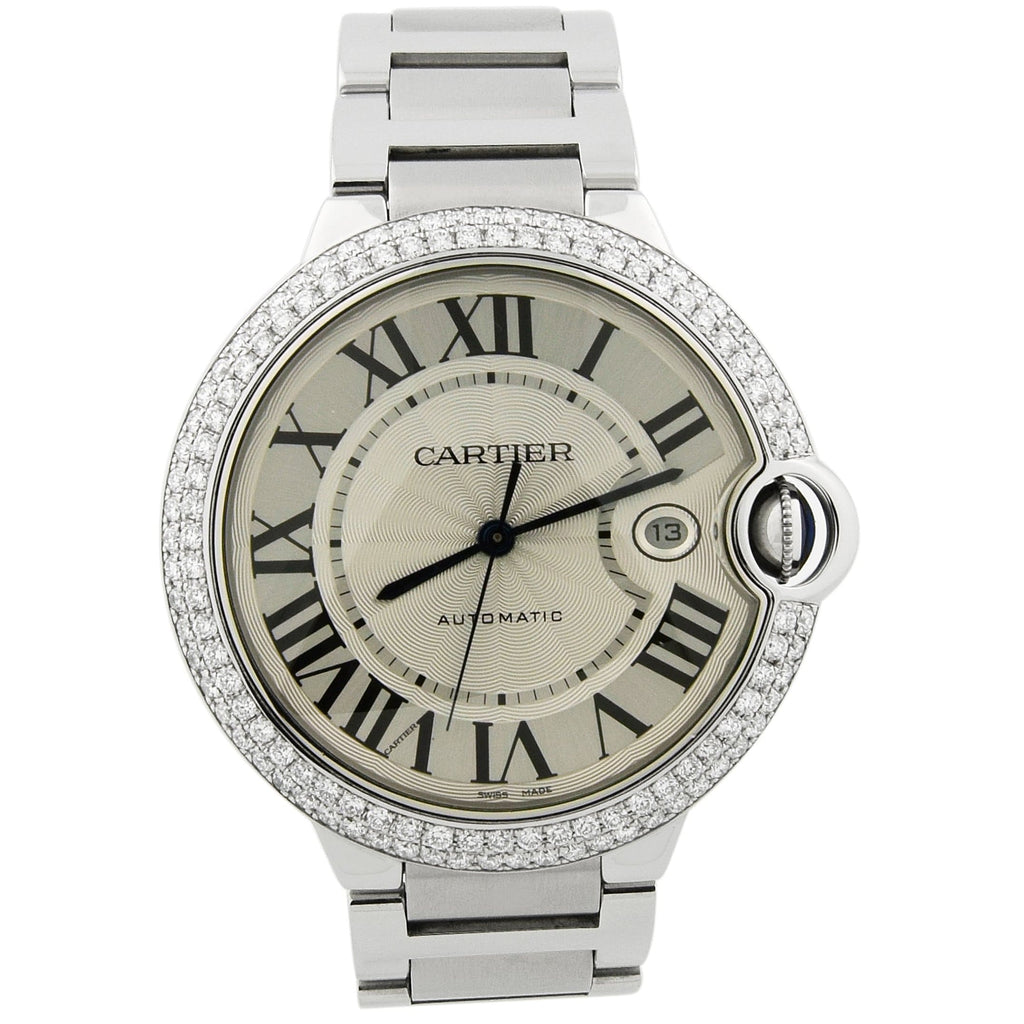 Cartier Mens Ballon Bleu Stainless Steel 42mm Silver Roman Dial Custom Diamonds Watch - Happy Jewelers Fine Jewelry Lifetime Warranty