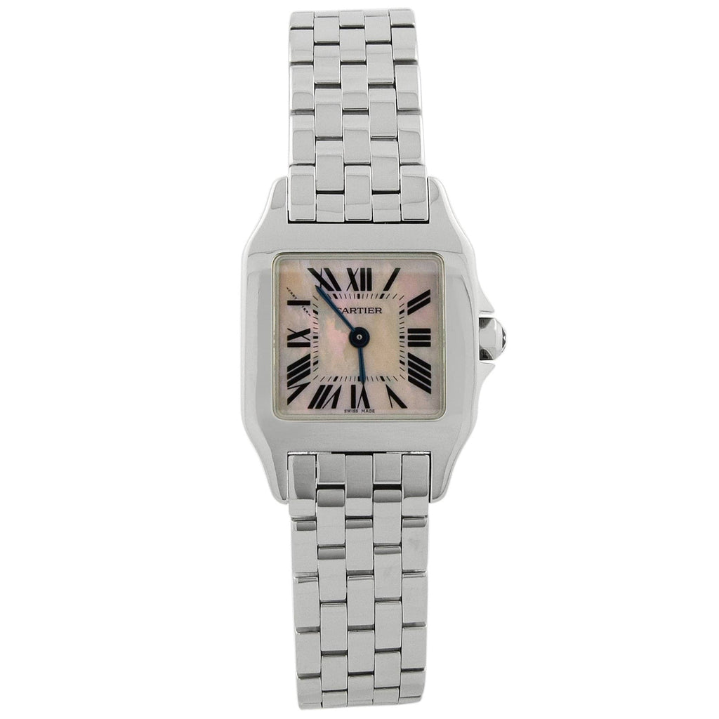 Cartier Lady Santos Demoiselle Stainless Steel 21.65x28.25mm Pink MOP Roman Dial Watch - Happy Jewelers Fine Jewelry Lifetime Warranty