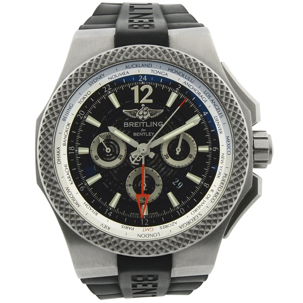 Breitling Mens Bentley GMT Titanium 49mm Black Luminous Dial Watch - Happy Jewelers