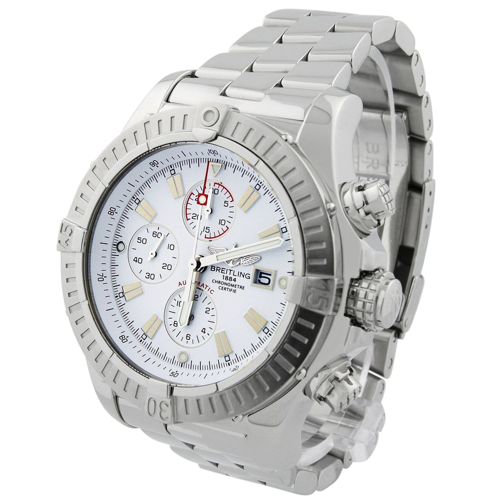 Breitling Mens Super Avenger Stainless Steel 48mm White Stick Dial Watch - Happy Jewelers