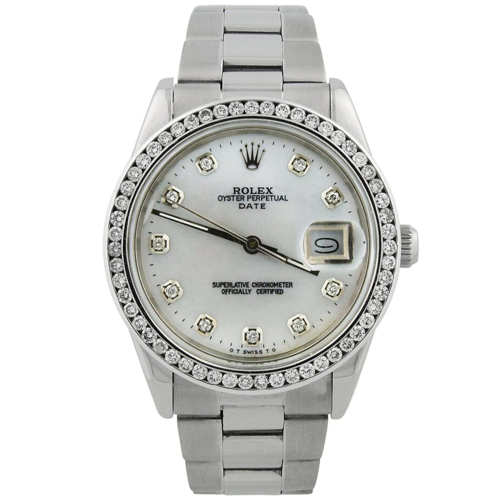 Rolex Unisex Date Stainless Steel 34mm MOP Diamond Dial Custom Diamonds Watch - Happy Jewelers Fine Jewelry Lifetime Warranty