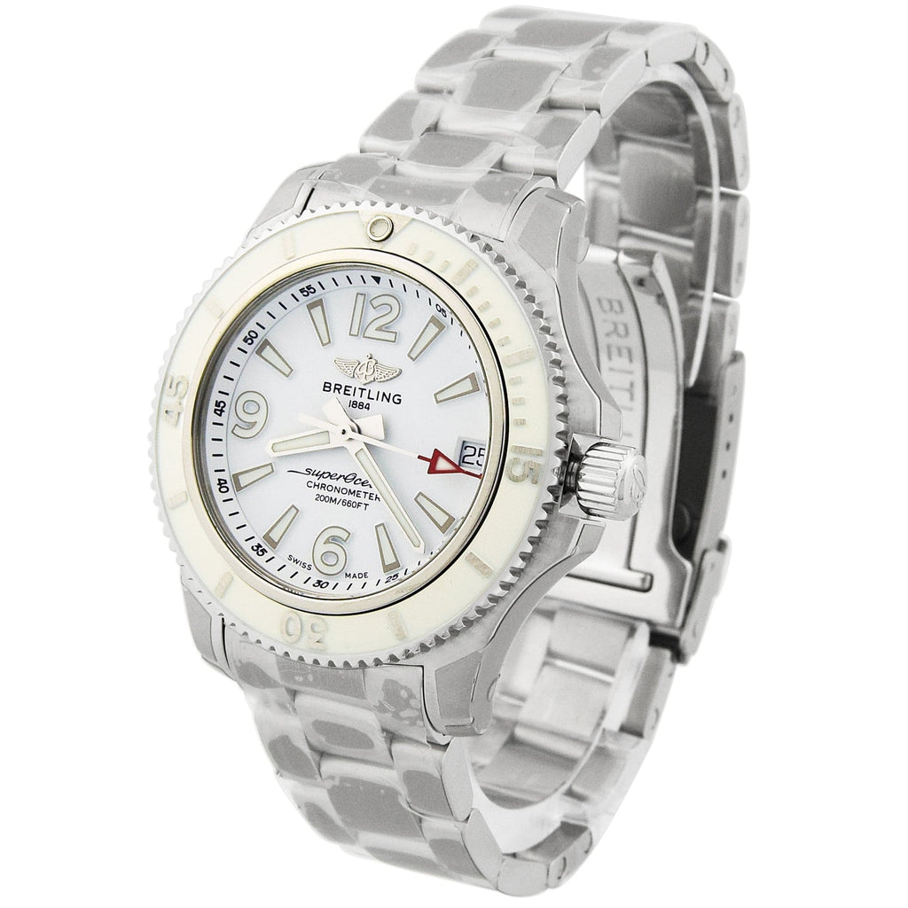 Breitling Lady Superocean Stainless Steel 36mm White Luminous Dial Watch - Happy Jewelers Fine Jewelry Lifetime Warranty