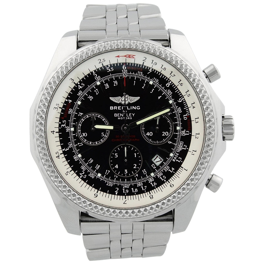 Breitling Mens Bentley Stainless Steel 49mm Black Stick Dial Watch - Happy Jewelers