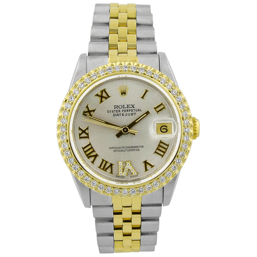 Rolex Lady Datejust 18KT Yellow Gold & Steel 31mm Silver Roman Dial Watch Reference #: 68273 - Happy Jewelers Fine Jewelry Lifetime Warranty