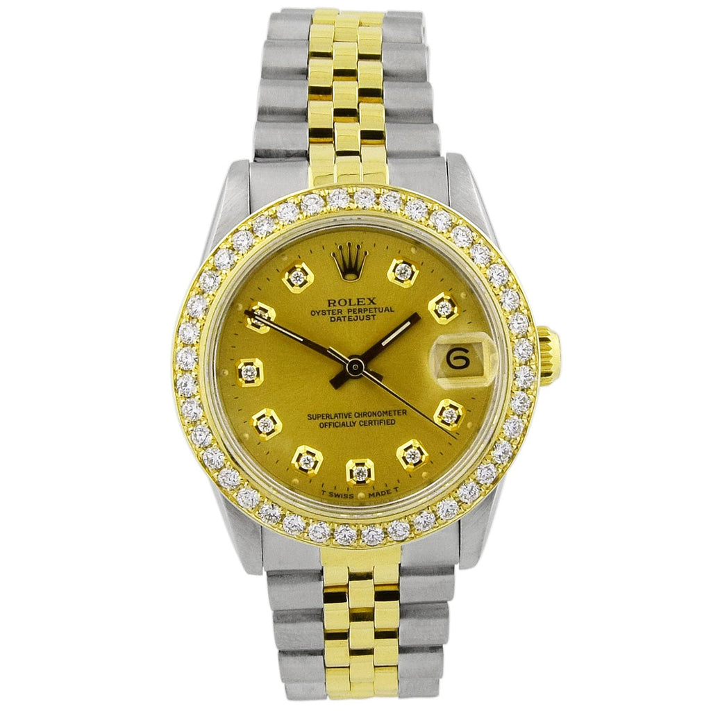 Rolex Lady Datejust 18KT Yellow Gold & Steel 31mm Champagne Diamond Dial Custom Diamonds Watch - Happy Jewelers Fine Jewelry Lifetime Warranty