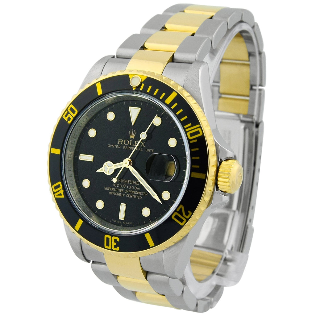Rolex Mens Submariner 18KT Yellow Gold & Steel 40mm Black Dot Dial Watch Reference #: 16613T - Happy Jewelers Fine Jewelry Lifetime Warranty