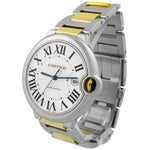 Cartier Mens Ballon Bleu 18KT Yellow Gold & Steel 42mm Silver Roman Dial Watch Reference #: W2BB0022 - Happy Jewelers Fine Jewelry Lifetime Warranty