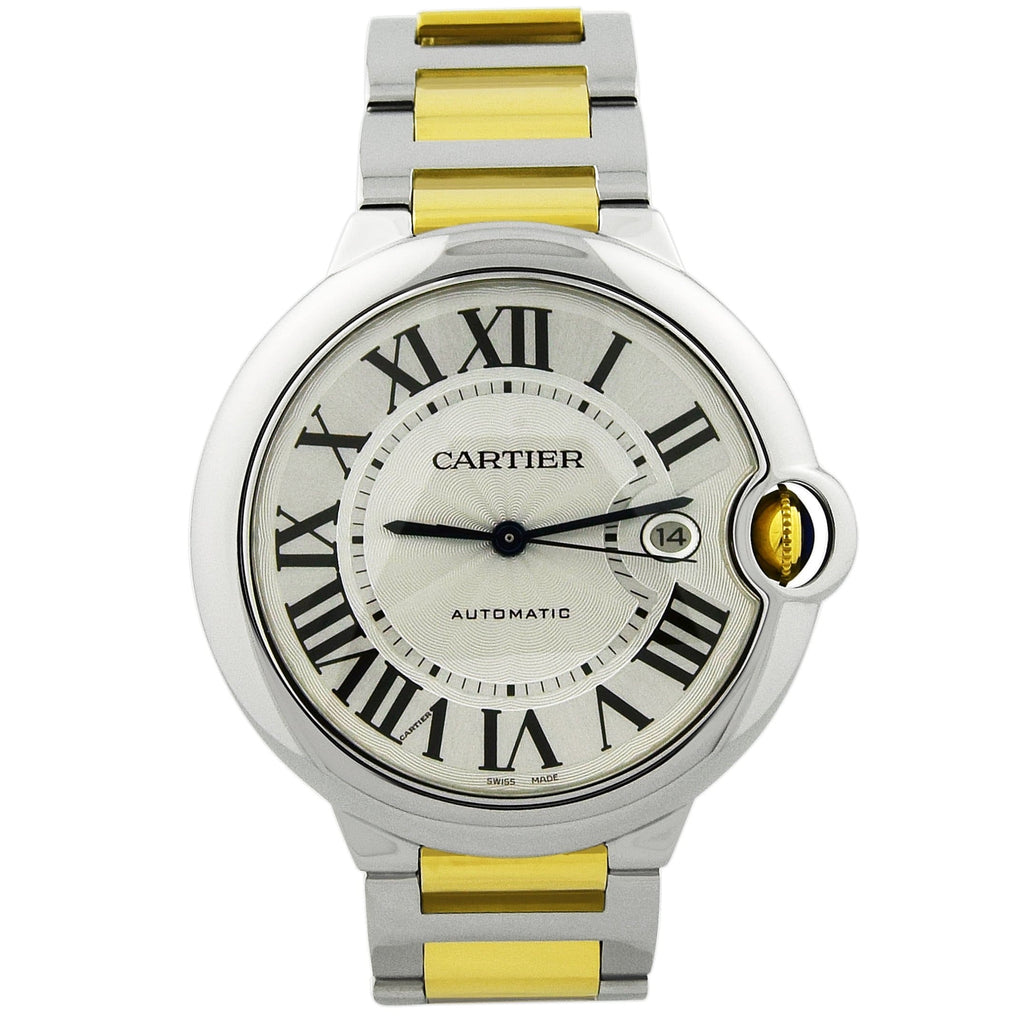 Cartier Mens Ballon Bleu 18KT Yellow Gold & Steel 42mm Silver Roman Dial Watch - Happy Jewelers Fine Jewelry Lifetime Warranty