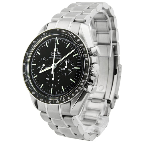 Omega Mens Speedmaster Moonwatch Stainless Steel 42mm Black Chronograph Stick Dial Watch Reference #: 311.30.42.30.01.005 - Happy Jewelers Fine Jewelry Lifetime Warranty