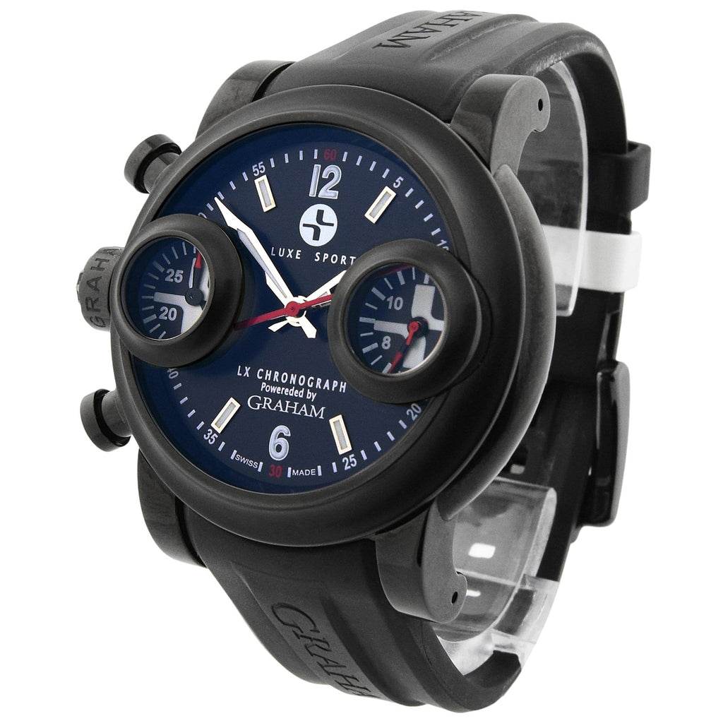 Graham Mens Swordfish Stainless Steel & PVD 46mm Black Dial Watch - Happy Jewelers Fine Jewelry Lifetime Warranty