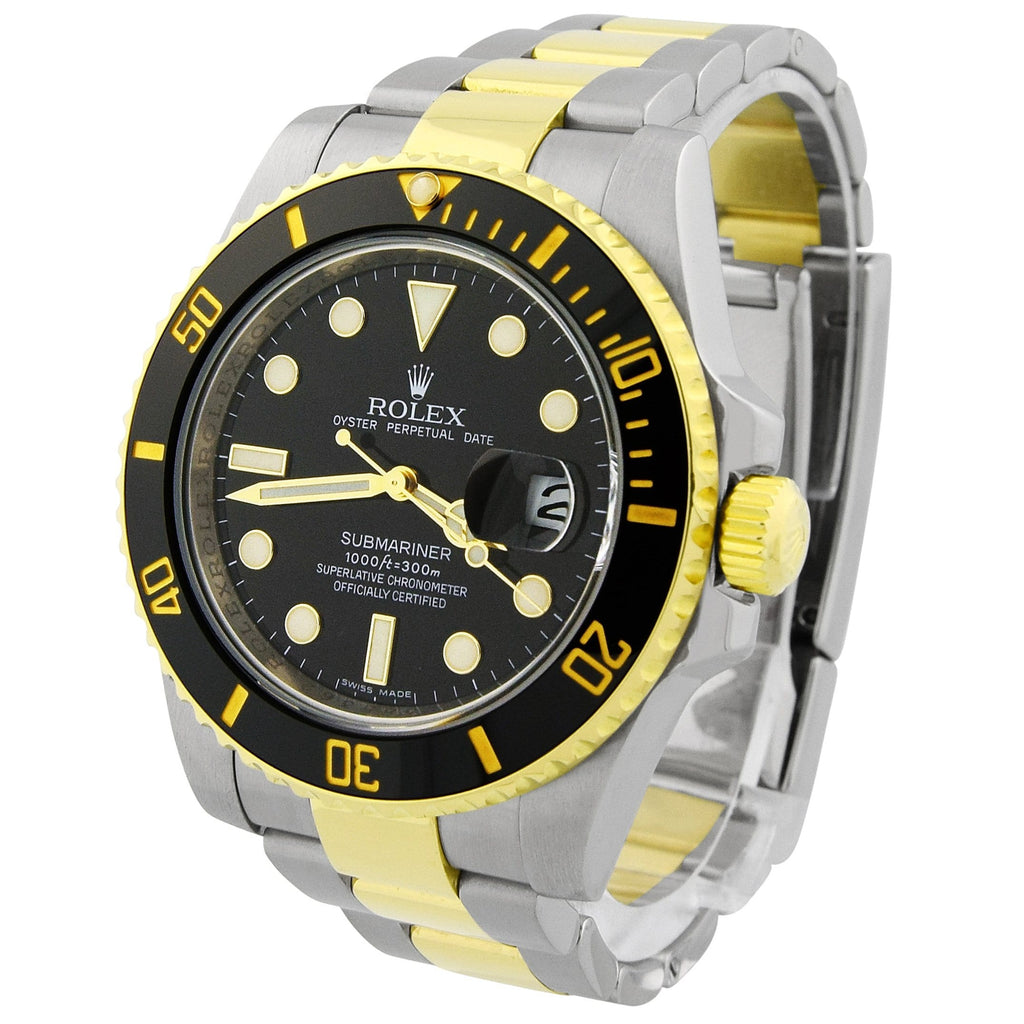 Rolex Mens Submariner 18KT Yellow Gold & Steel Black Luminous Dial Watch Reference #: 116613 - Happy Jewelers Fine Jewelry Lifetime Warranty