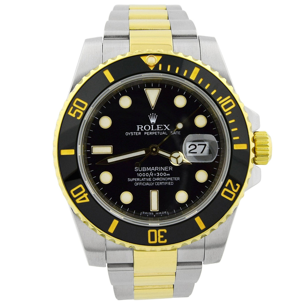 Rolex Men's Submariner 18KT Yellow Gold & Steel Black Luminous Dial Watch - Happy Jewelers