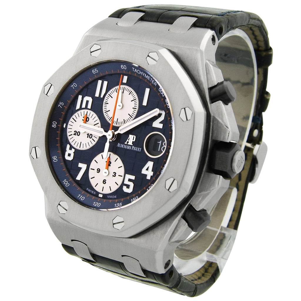 Audemars Piguet Mens Royal Oak Offshore Stainless Steel 42mm Blue Arabic Dial Watch - Happy Jewelers