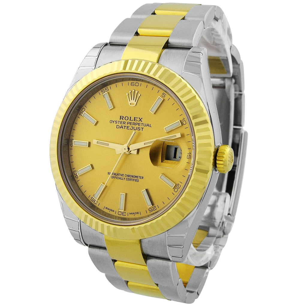 Rolex Mens Datejuts 41 18KT Yellow Gold & Steel 41mm Champagne Luminous Dial Watch - Happy Jewelers Fine Jewelry Lifetime Warranty