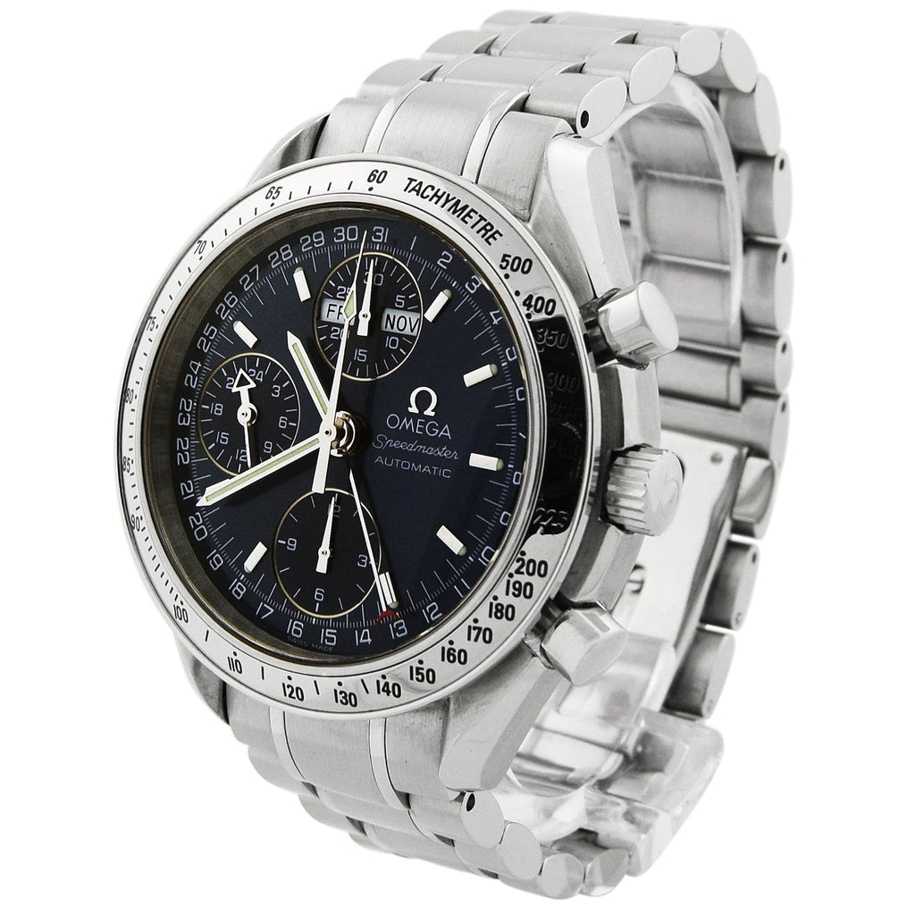 Omega Mens Speedmaster Day-Date Stainless Steel 39mm Blue Dial Watch - Happy Jewelers Fine Jewelry Lifetime Warranty