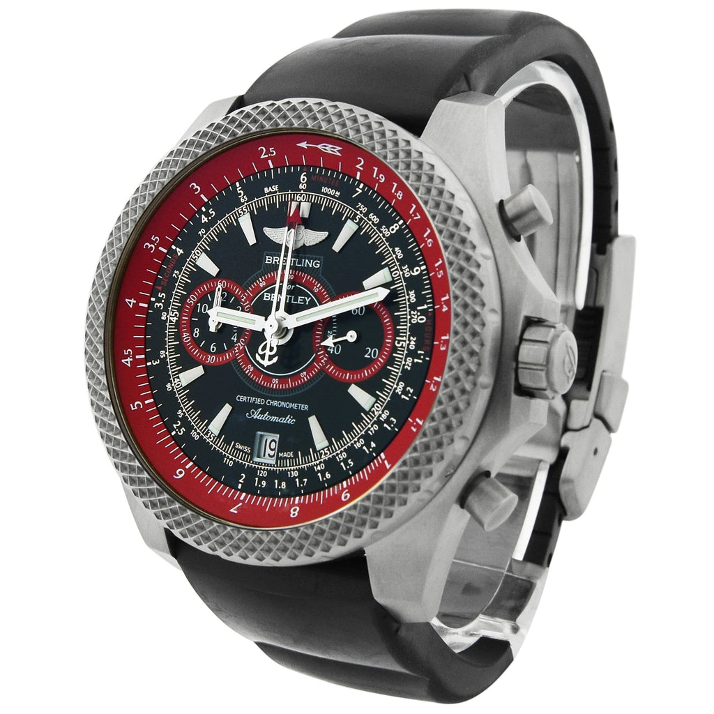Breitling Mens Bentley Supersports Titanium 49mm Black & Red Dial Watch - Happy Jewelers Fine Jewelry Lifetime Warranty