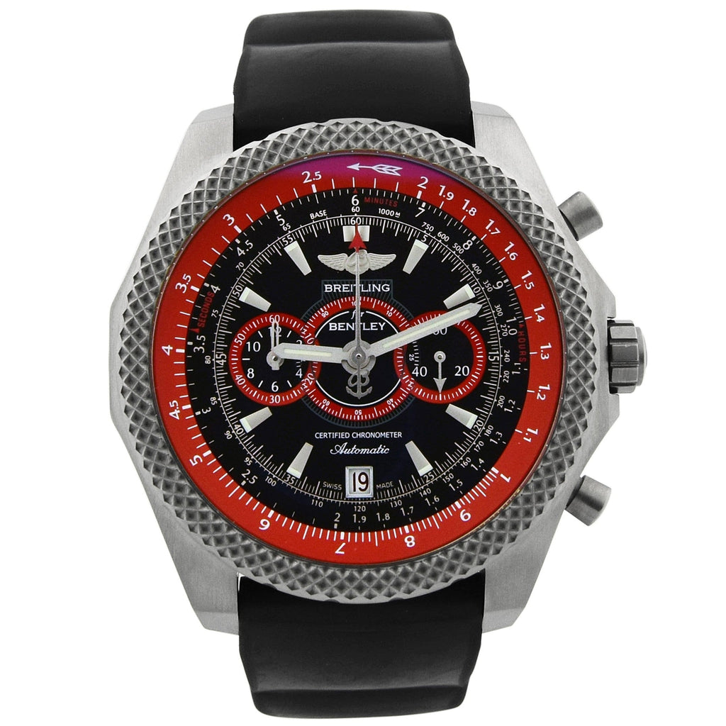 Breitling Mens Bentley Supersports Titanium 49mm Black & Red Dial Watch - Happy Jewelers