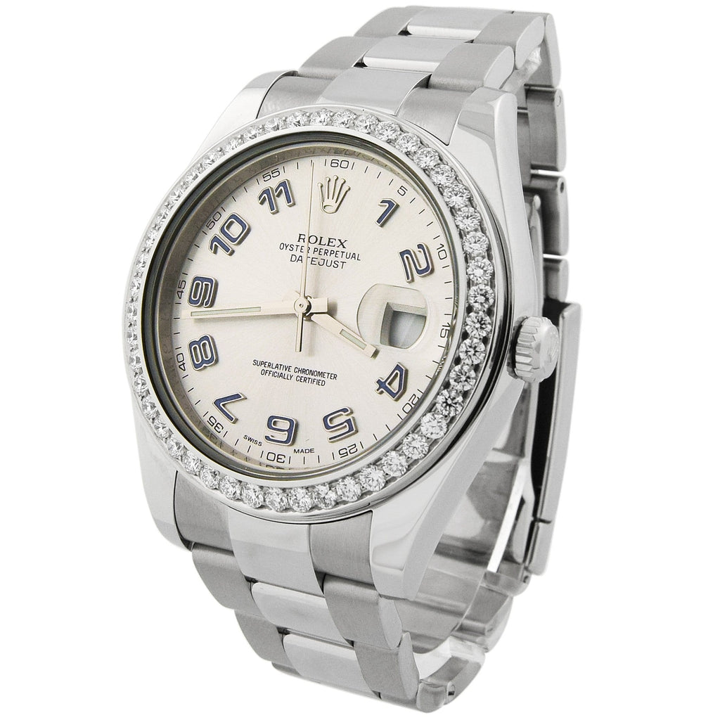 Rolex Mens Datejust II Stainless Steel 41mm Silver Arabic Dial Custom Diamonds Watch - Happy Jewelers Fine Jewelry Lifetime Warranty