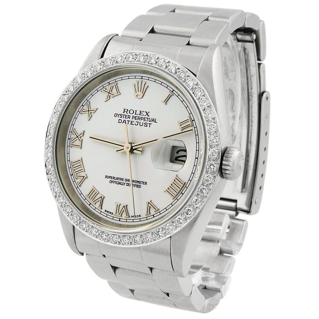 Rolex Lady Datejust Stainless Steel 36mm White Roman Dial Custom Diamonds Watch - Happy Jewelers Fine Jewelry Lifetime Warranty