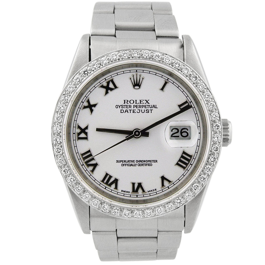 Rolex Lady Datejust Stainless Steel 36mm White Roman Dial Watch Reference #: 16200 - Happy Jewelers Fine Jewelry Lifetime Warranty