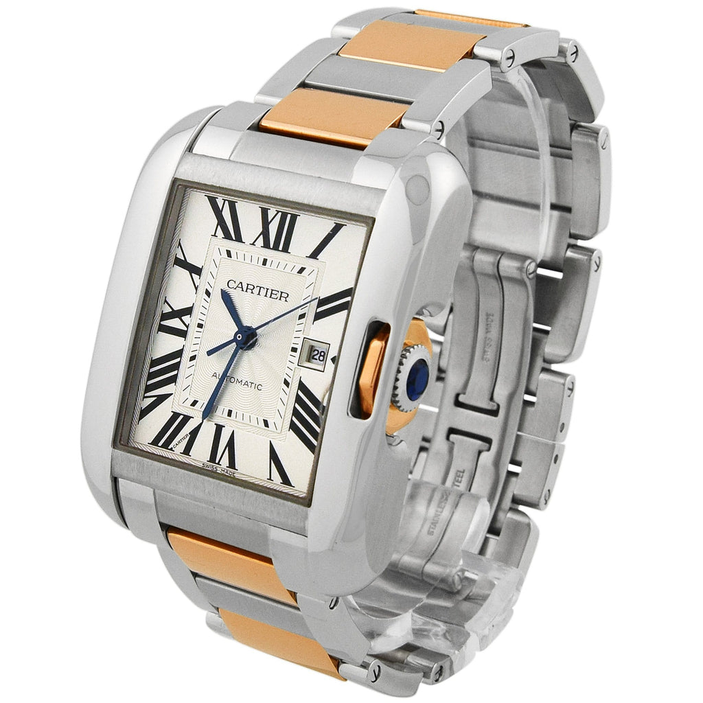 Cartier Lady Tank Anglaise 18KT Rose Gold & Steel 30x40mm Silver Roman Dial Watch Reference #: 3511 - Happy Jewelers Fine Jewelry Lifetime Warranty