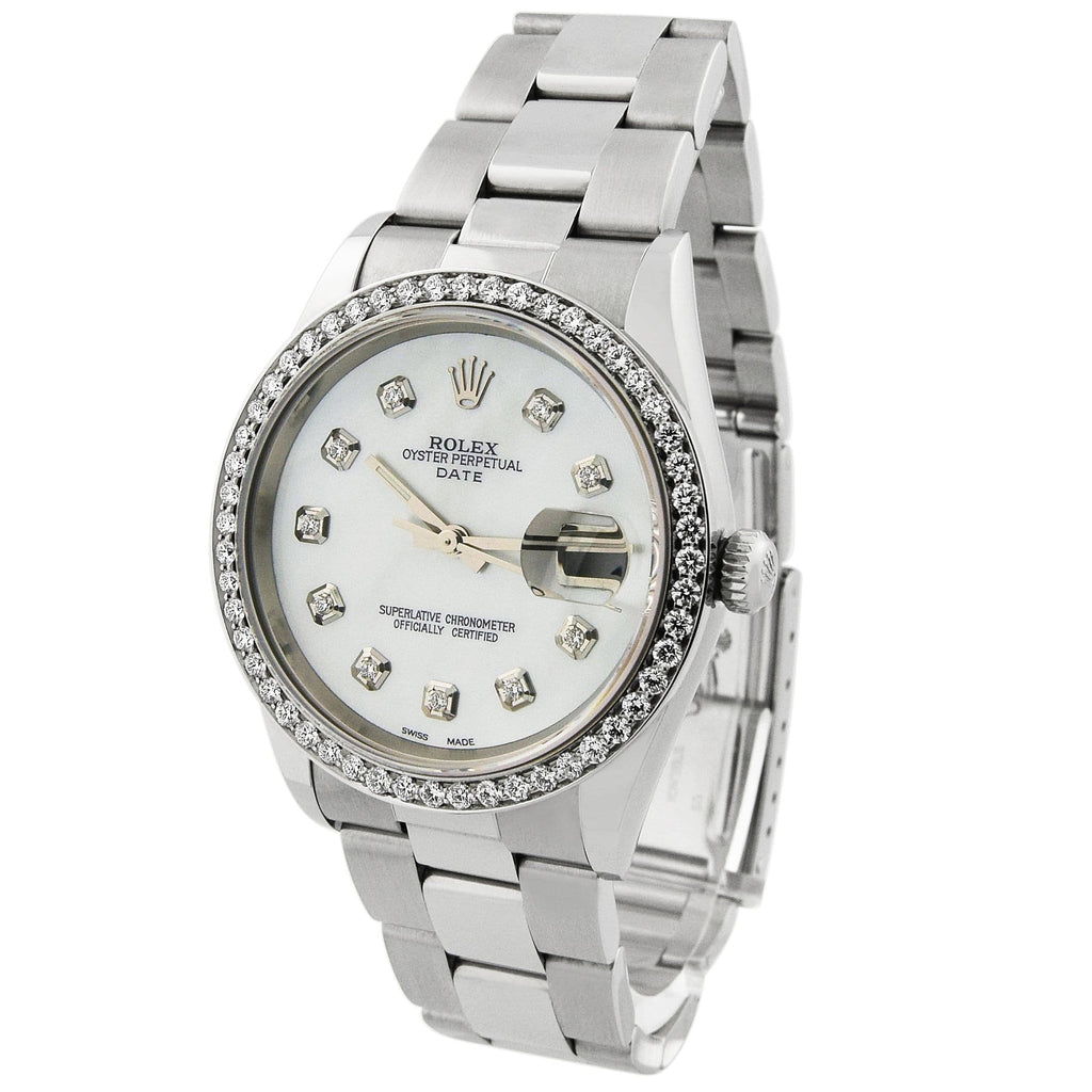 Rolex Lady Date Stainless Steel 34mm MOP Diamond Dial Custom Diamonds Watch - Happy Jewelers Fine Jewelry Lifetime Warranty