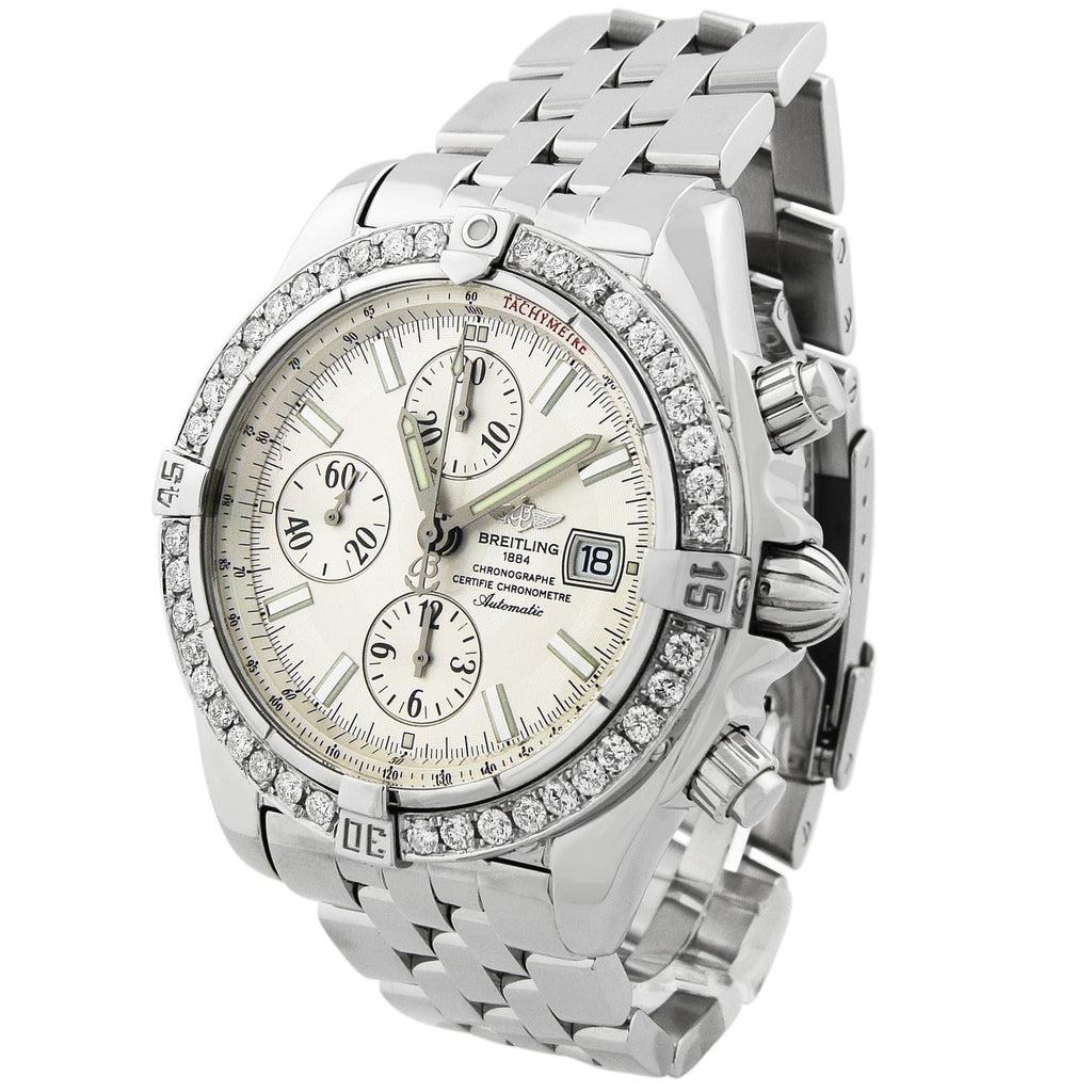 Breitling Mens Chronomat Evolution Stainless Steel 44mm Silver Dial Custom Diamonds Watch - Happy Jewelers Fine Jewelry Lifetime Warranty