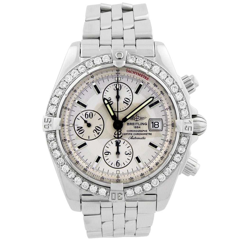 Breitling Mens Chronomat Evolution Stainless Steel 44mm Silver Dial Custom Diamonds Watch - Happy Jewelers