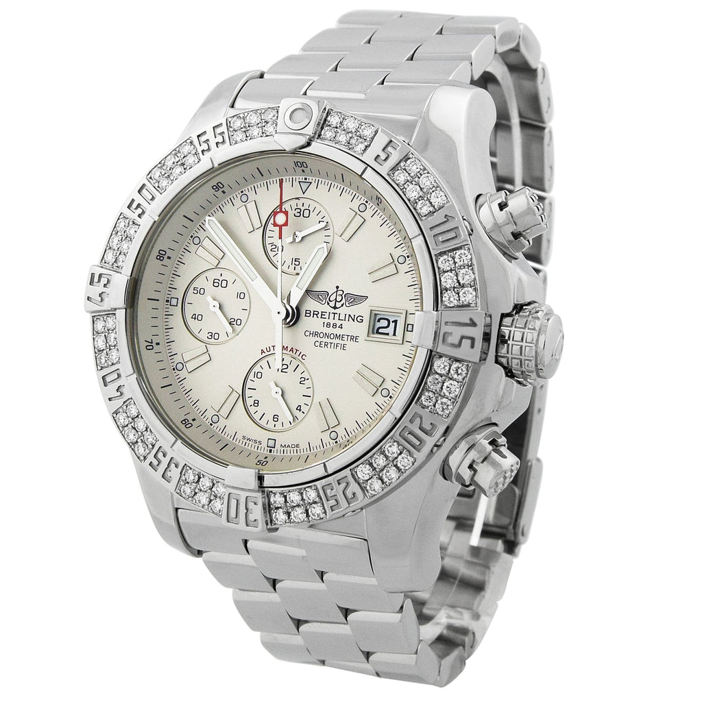 Breitling Mens Avenger Skyland Stainless Steel 45mm Cream Dial Custom Diamonds Watch - Happy Jewelers