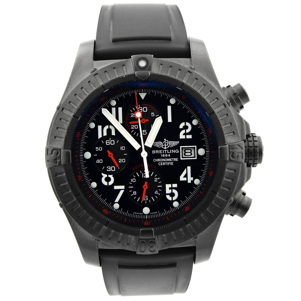 Breitling Mens Super Avenger Blacksteel 48.5mm Black Arabic Dial Watch - Happy Jewelers