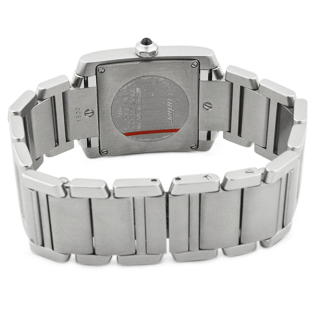 Cartier Lady Tank Francaise Stainless Steel 25mm Silver Roman Dial Watch - Happy Jewelers Fine Jewelry Lifetime Warranty