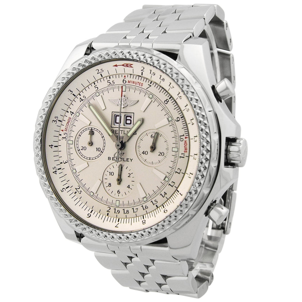 Breitling Mens Bentley 6.75 Stainless Steel 48mm Silver Dial Chronograph Watch Reference #: A44362 - Happy Jewelers Fine Jewelry Lifetime Warranty